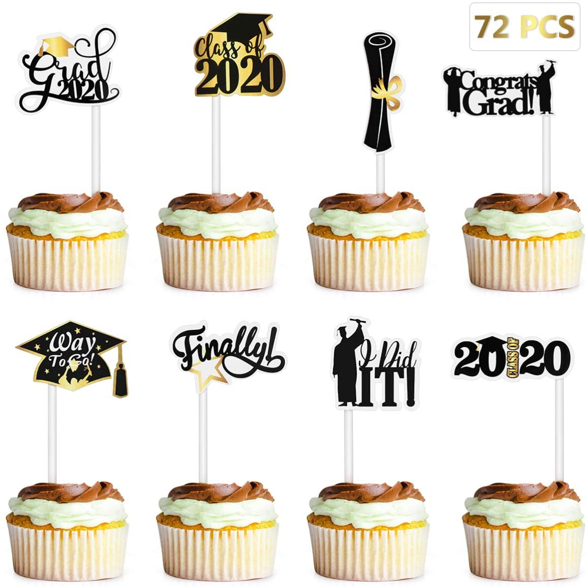 Cupcake Cake Toppers 24 X 3.8cm Edible Thank You Teacher