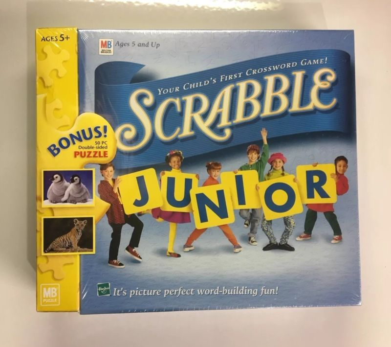 Scrabble Junior Board Game + Bonus Double Sided Puzzle Hasbro Milton Bradley by