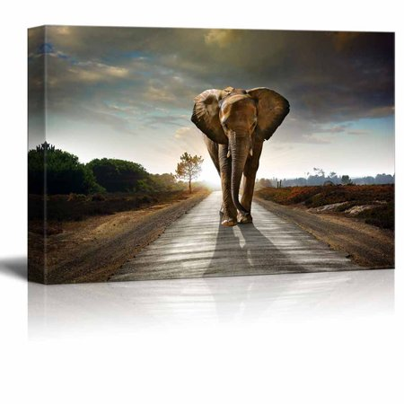 wall26 - Canvas Prints Wall Art - Large Elephant Walking Behind a Dark Cloudy Sky | Modern Wall Decor/Home Decoration Stretched Gallery Canvas Wrap Giclee Print. Ready to Hang - - Stretched Giclee Canvas