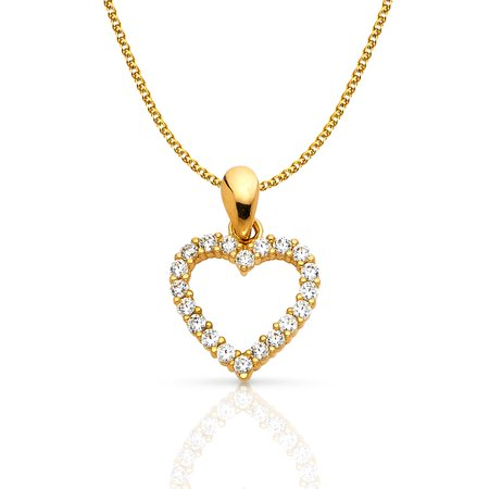14K Yellow Gold Open Fancy Heart Round Cut Cubic Zirconia CZ Charm Pendant with 1.2mm Flat Open Wheat Chain (Gold Round Cut Heart)