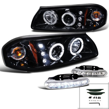 Spec-D Tuning For 2000-2005 Chevy Chevrolet Impala Halo Piano Black Projector Headlights + Led Fog Lamps (Left + Right) 2000 2001 2002 2003 2004 2005