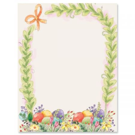 Basket Border Easter Letter Papers - Set of 25 spring stationery papers are 8 1/2