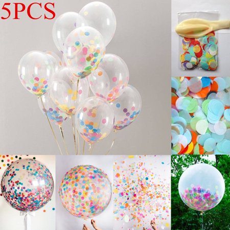 5pcs 18 Inch Clear Latex Balloons With Confetti Wedding Birthday