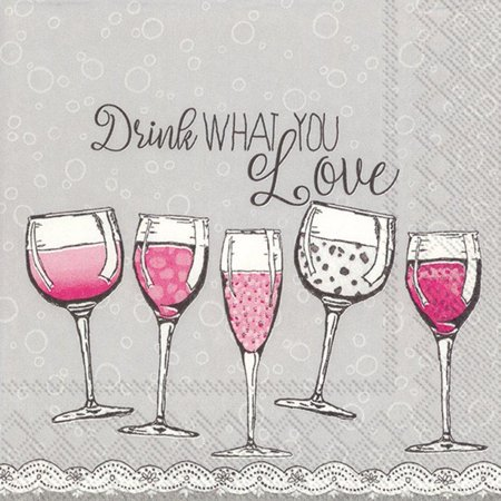 Boston International 20-pk. Drink Love Cocktail Napkins One Size Grey/pink Cocktail Drink Napkins