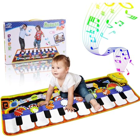 Coolmade Kids Musical Mats, Music Piano Keyboard Dance Floor Mat Carpet Animal Blanket Touch Playmat Early Education Toys for Baby Toddler Infants Girls Boys (43.3x14.2in) Dance Mat Toys