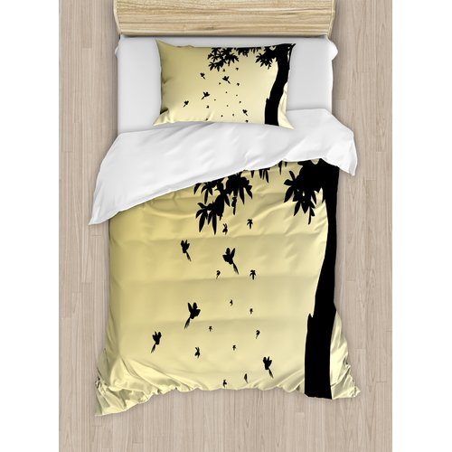 Ambesonne Apartment Autumn Theme Silhouette of a Tree wit...