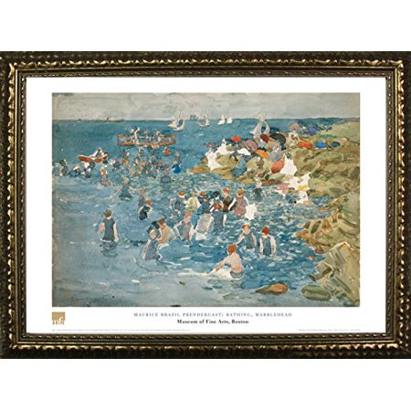 Famous Landscape Oil Paintings (buyartforless FRAMED Bathing, Marblehead by Maurice Brazil Prendergast 20x28 Art Print Poster Famous Painting Still Life Ocean Landscape From Museum of Fine Arts Boston Collection )