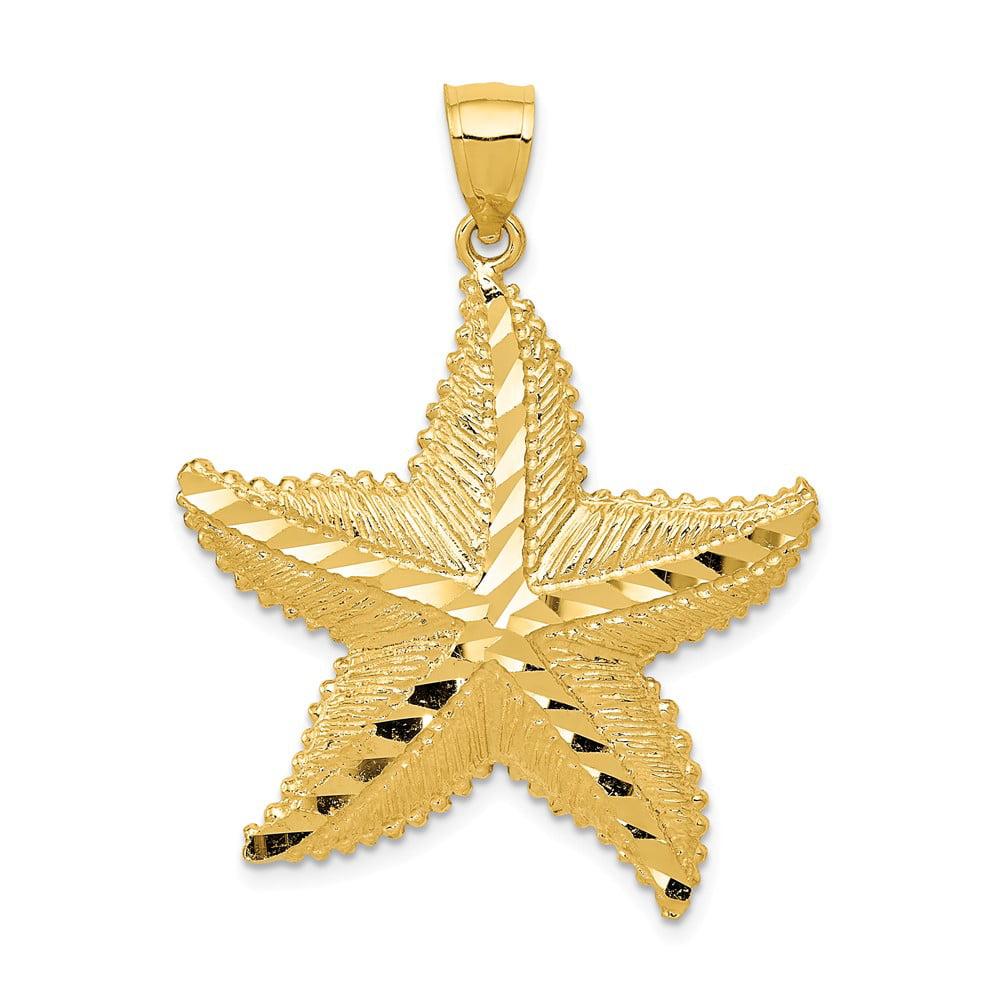 14k Yellow Gold Polished /& Textured Arrow Charm Pendant