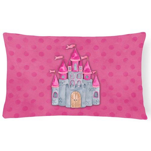 Zoomie Kids Sarah Princess Castle Watercolor Lumbar Pillow