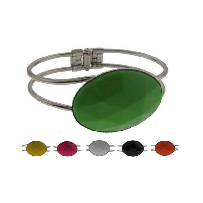 DDI 684493 Silvertone Spring-Hinged Bracelet - Round Case of 60