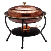 """17"""" x 14"""" x 16½"""" Oval Antique Copper over S/S Chafing Dish, 6 Qt."""