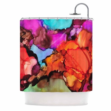 Kess InHouse Abstract Anarchy Design Caldera 3 Pink Teal Shower Curtain 69x70