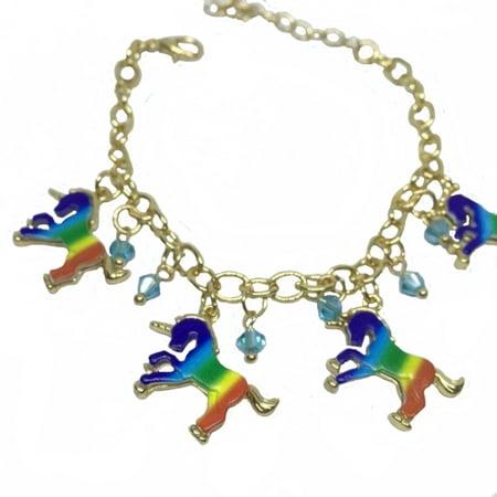Rainbow Color Unicorns Crystal Stones Tarnish Resistant Adjustable Bracelet, J-UC4](Unicorn Bracelet)