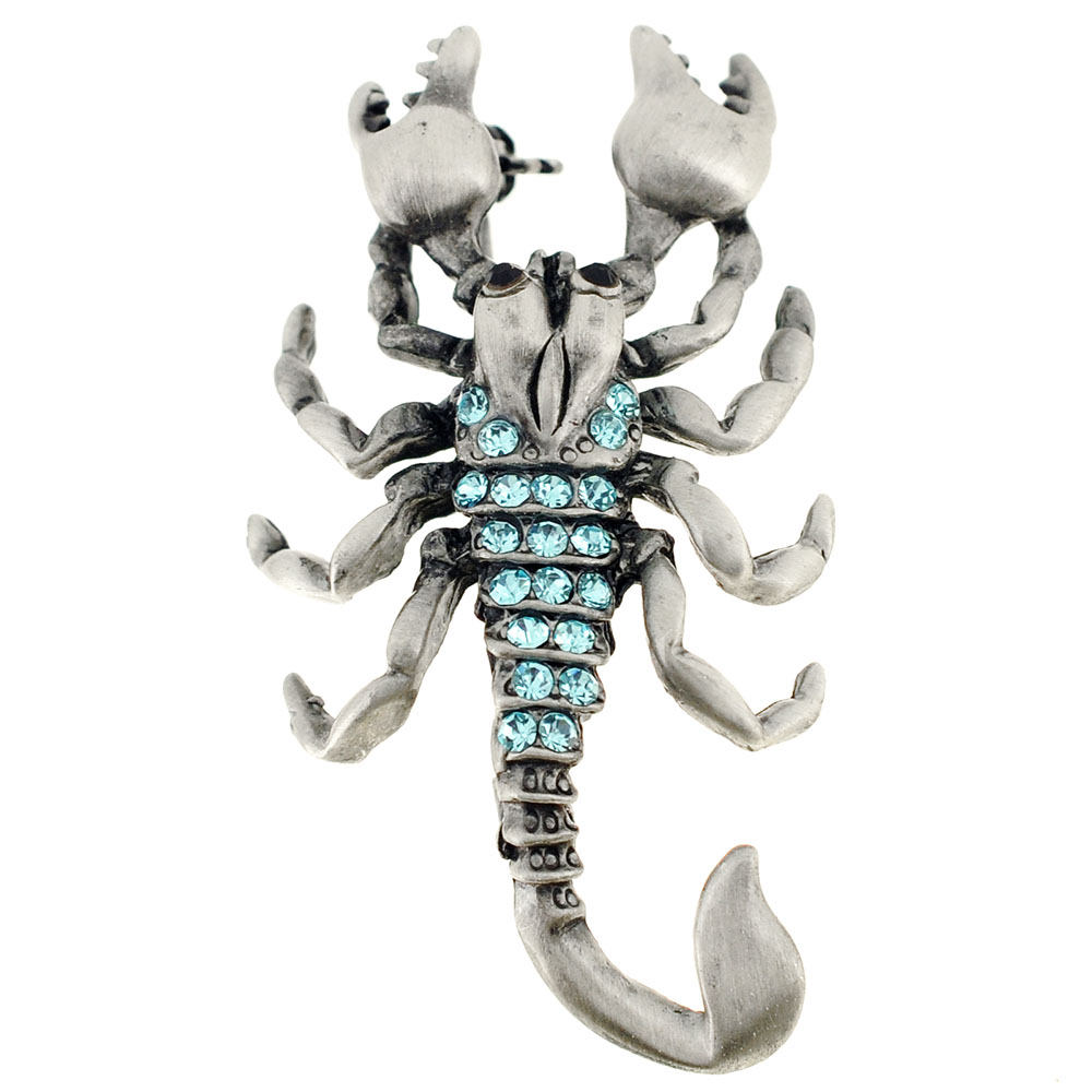 Turquoise Blue Scorpion Crystal Pin Brooch by