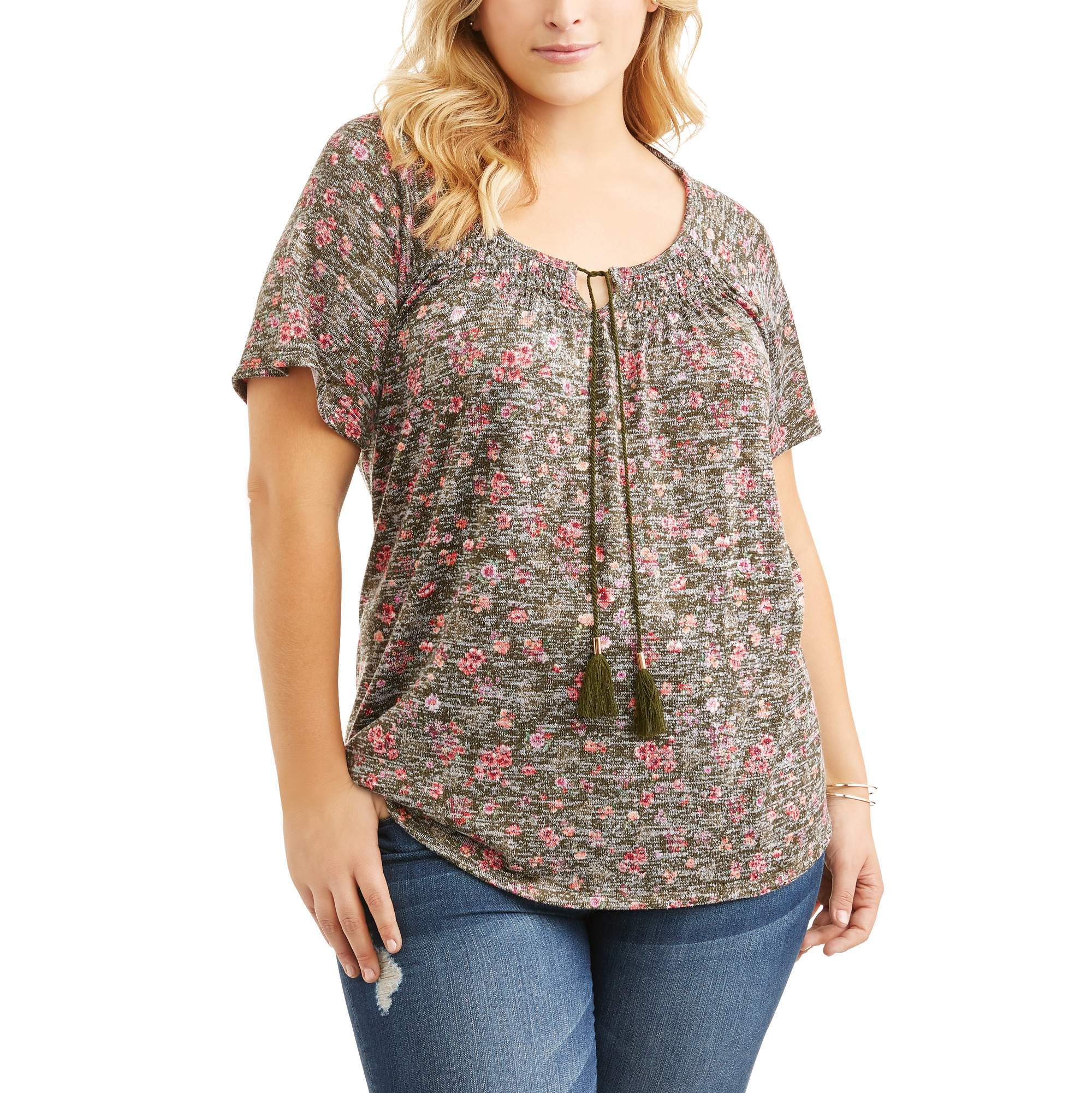 Women's Plus Printed Hacci Tie Front Peasant Top With Cross Back