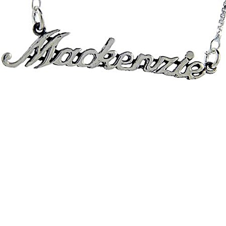 Sterling Silver Name Necklace Mackenzie 3/8 Inch, 17 Inches Long