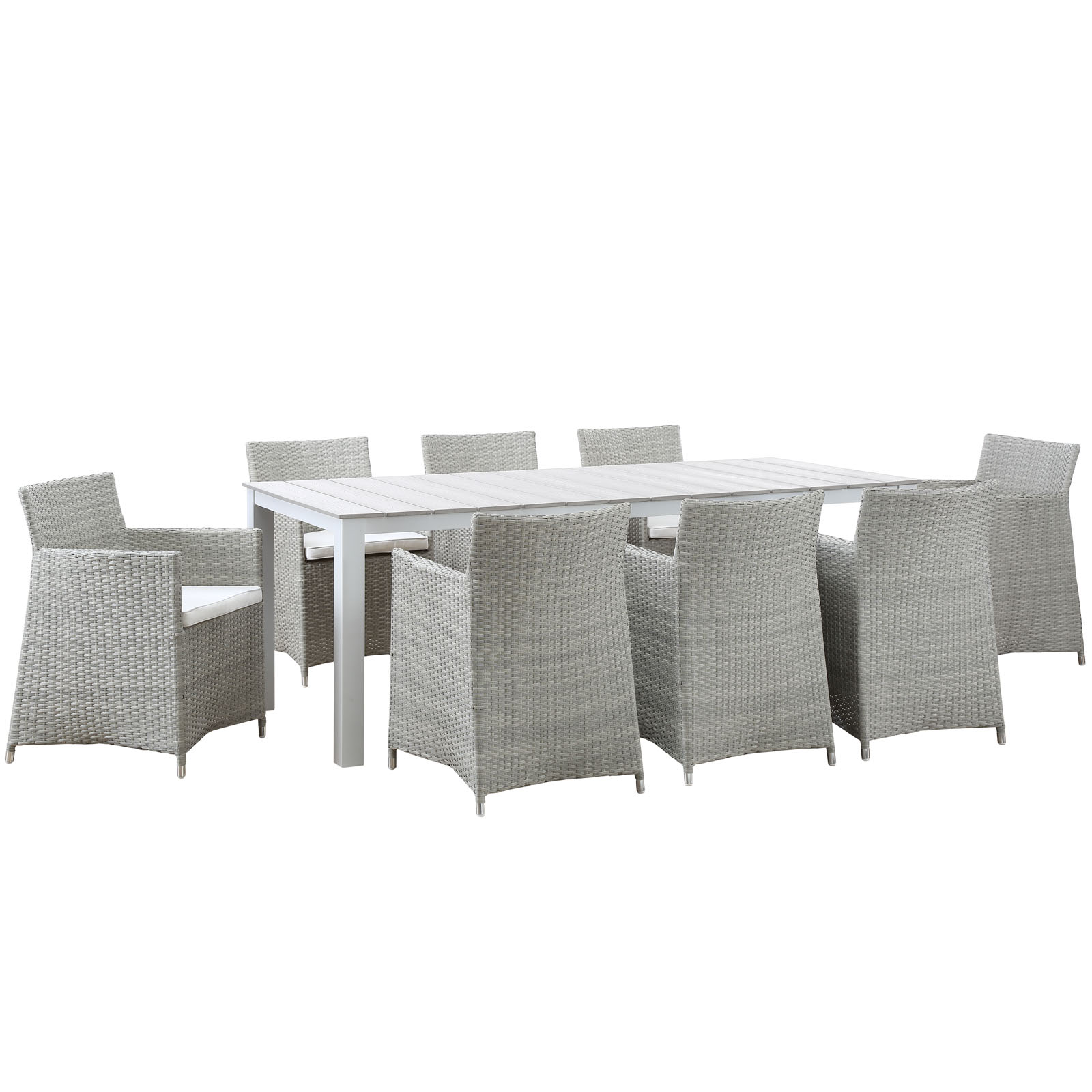Modern Urban Contemporary 9 pcs Outdoor Patio Dining Room Set, Gray White Plastic by America Luxury