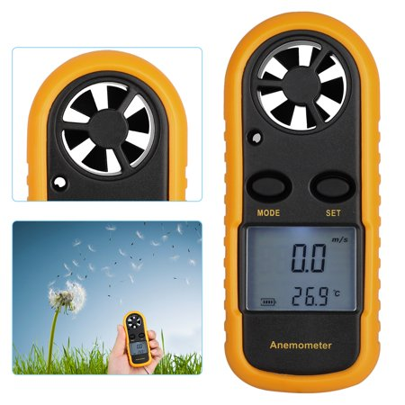 Digital LCD Anemometer Handheld Wind Speed Meter Tester for Measuring Wind Speed, Temperature and Wind Chill with Backlight Ultrasonic Wind Meter