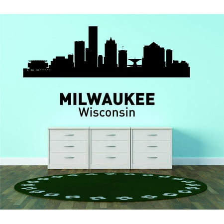 Custom City Wall Map - Custom Wall Decal Milwaukee Wisconsin United States Major City Geographical Map Landmark - Vinyl Wall - 20x42