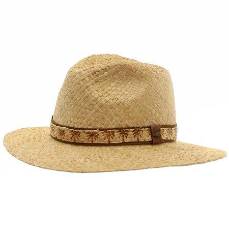 Scala Raffia - Scala Men's Natural Raffia With Palm Tree Trim Safari Hat Sz: XL