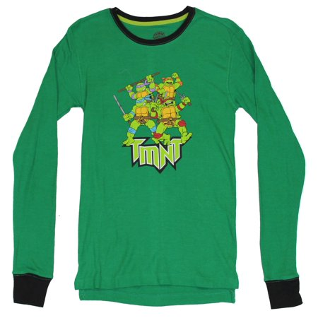 Teenage Mutant Ninja Turtles TMNT Mens Thermal Shirt - Attacking Group (Tmnt Onesie For Men)