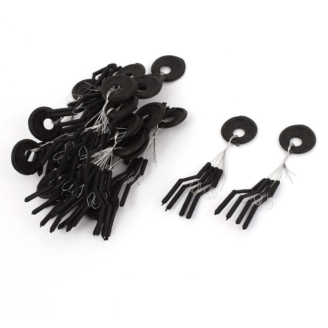 Unique Bargains 20 Pcs Black Plastic Ring Cylindrical Float Fishing Bobber Stopper by
