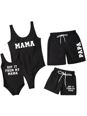 010646d941 Product Image Family Matching Swimwear Letter Printed Mom Daughter One  Piece Swimsuit Sporty Monokini Dad Son Swim Trunks