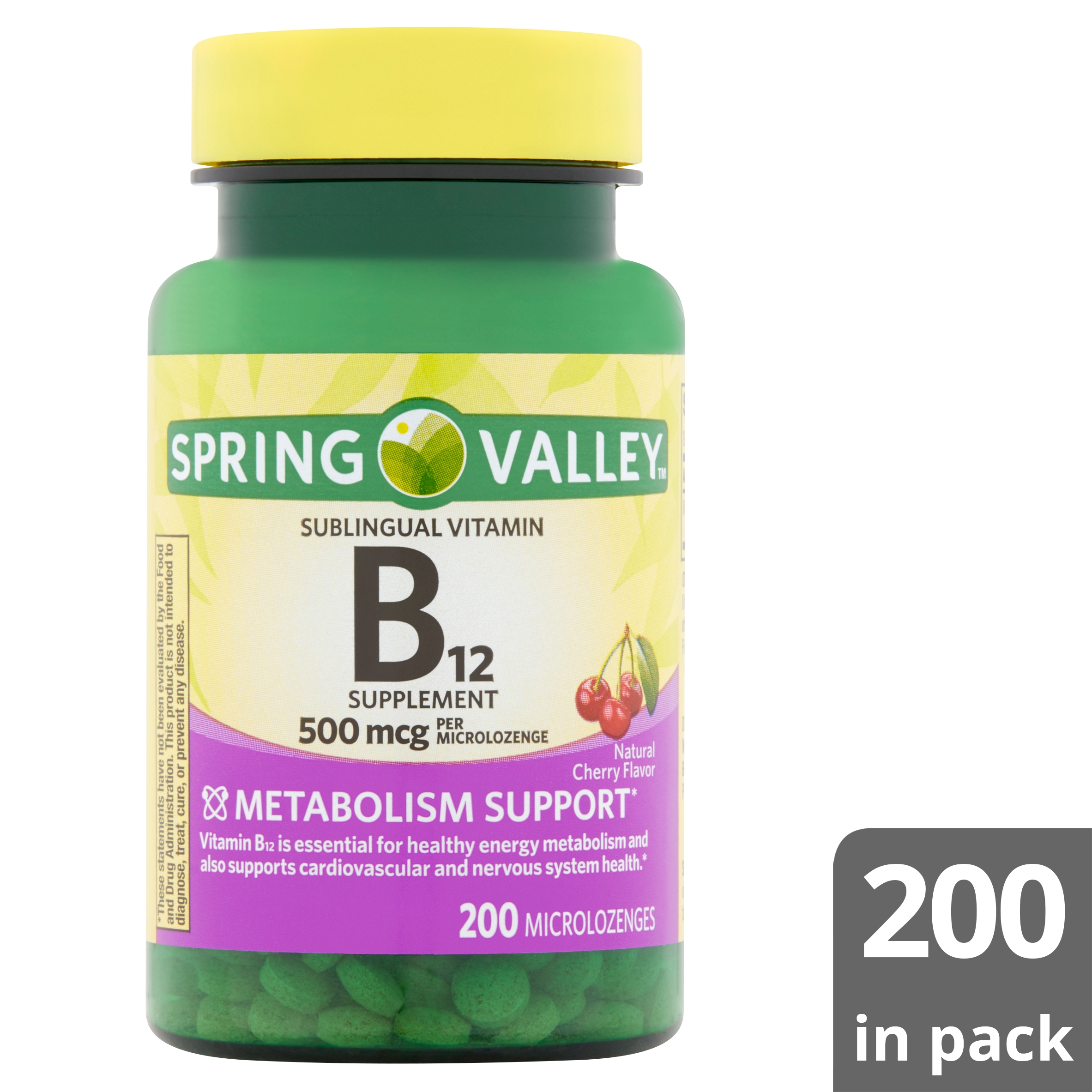 Spring Valley Natural Cherry Flavor B12 Supplement Microlozenges