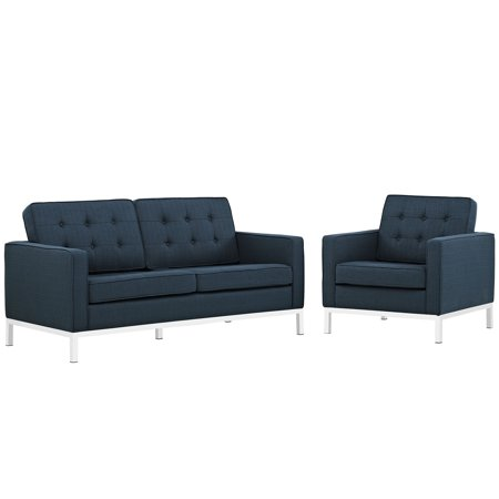 - Modern Contemporary Urban Design Living Lounge Room Sofa Set ( Set of Two), Navy Blue, Fabric