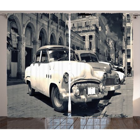 Old Car Decorations Curtains 2 Panels Set, Panoramic View Of Shabby Old  Havana Street With Vintage Classic American Cars, Living Room Bedroom