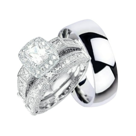 His And Hers Wedding Sets Silver Anium 3 Pcs Matching Band Rings Him Her