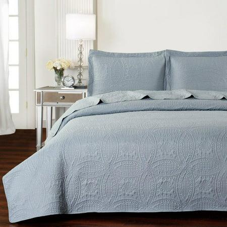Mellanni Bedspread Coverlet Set Gray Comforter Oversized 3 Piece Quilt King Cal Light