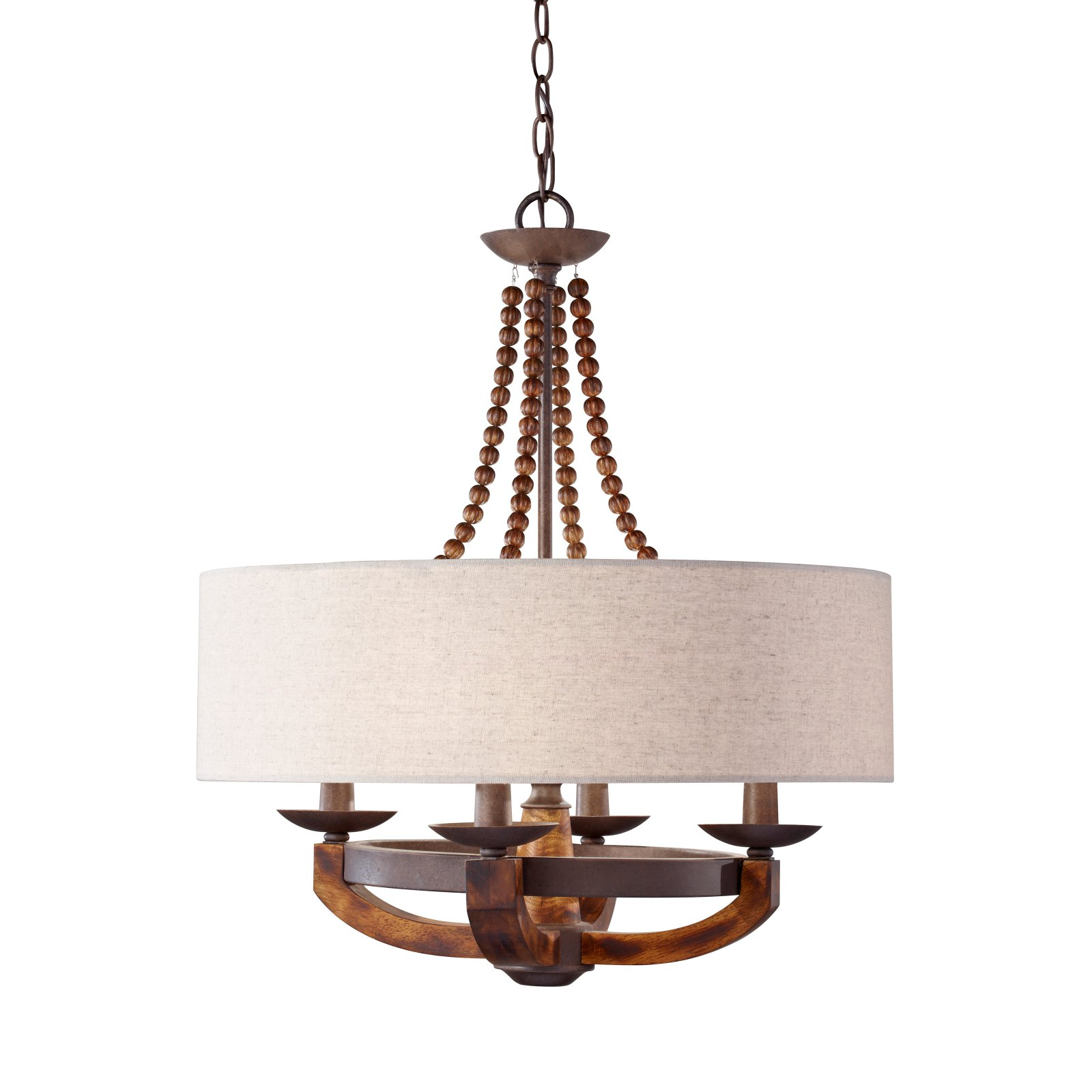 Feiss Adan Chandelier 22.13W in. Rustic Iron Burnished Wood by Murray Feiss