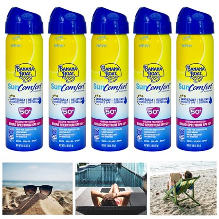 5 Pack Banana Boat SunComfort Sunscreen Spray UVA UVB Protection SPF 50+ 1.8oz ()