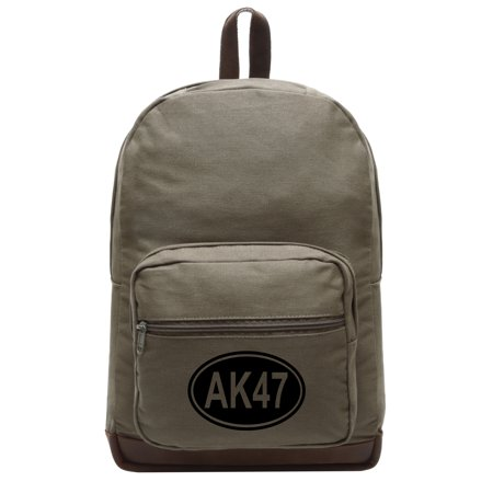 AK47 Canvas Teardrop Backpack with Leather Bottom (Best Ak 47 Compensator)