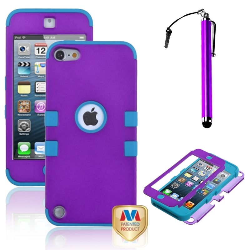 Insten Grape/Teal Impact Armor Silicone Hybrid Hard Case For iPod touch 6 6G 6th 5 5G 5th 5G Stylus