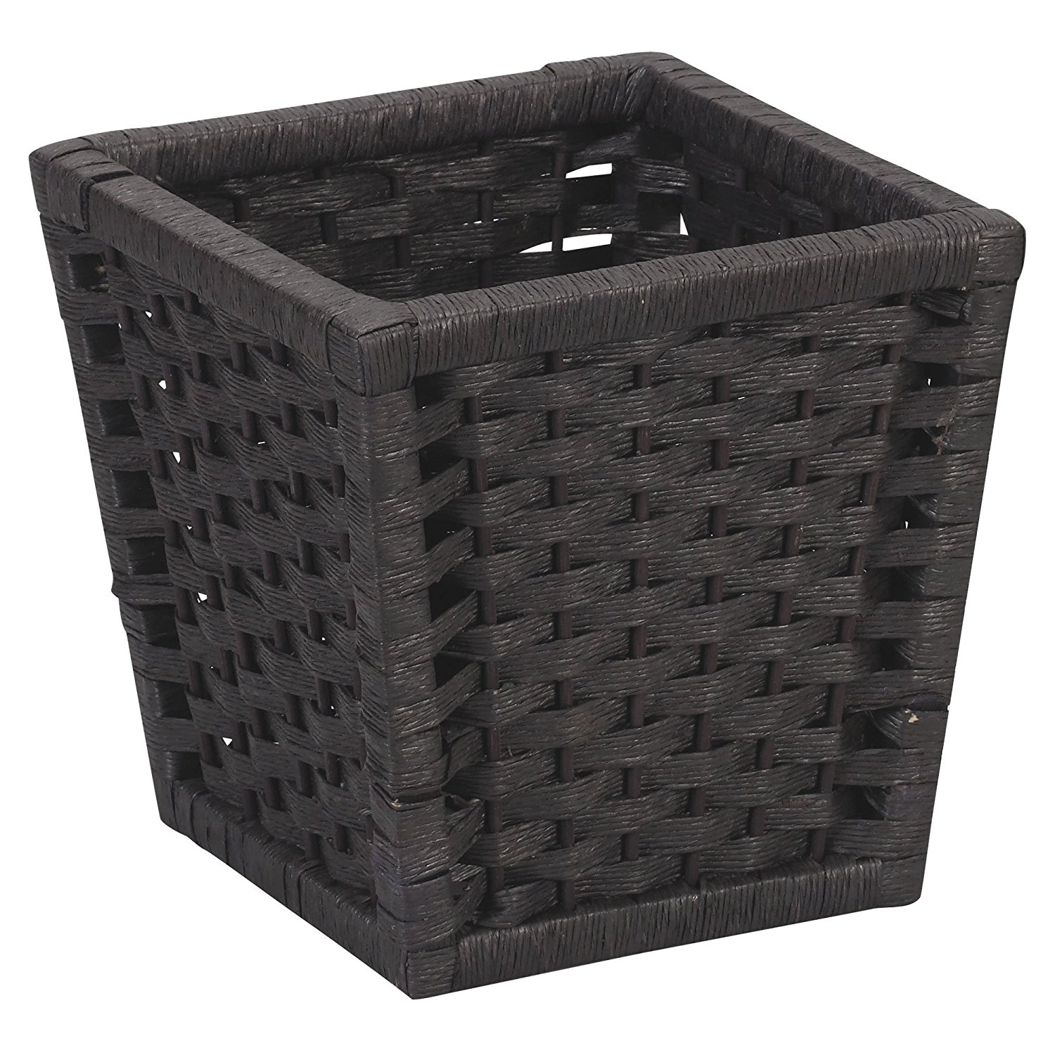 Household Essentials Paper Rope Waste Basket, Black Stain