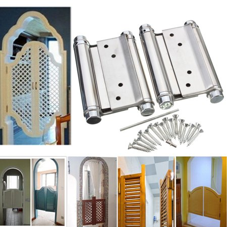 """4PCS 4"""" Inch Stainless Steel Double Action Spring Hinge Hardware Cafe Saloon Door Hinge Swing Free Door Kitchen Gate With Screws - image 9 of 9"""