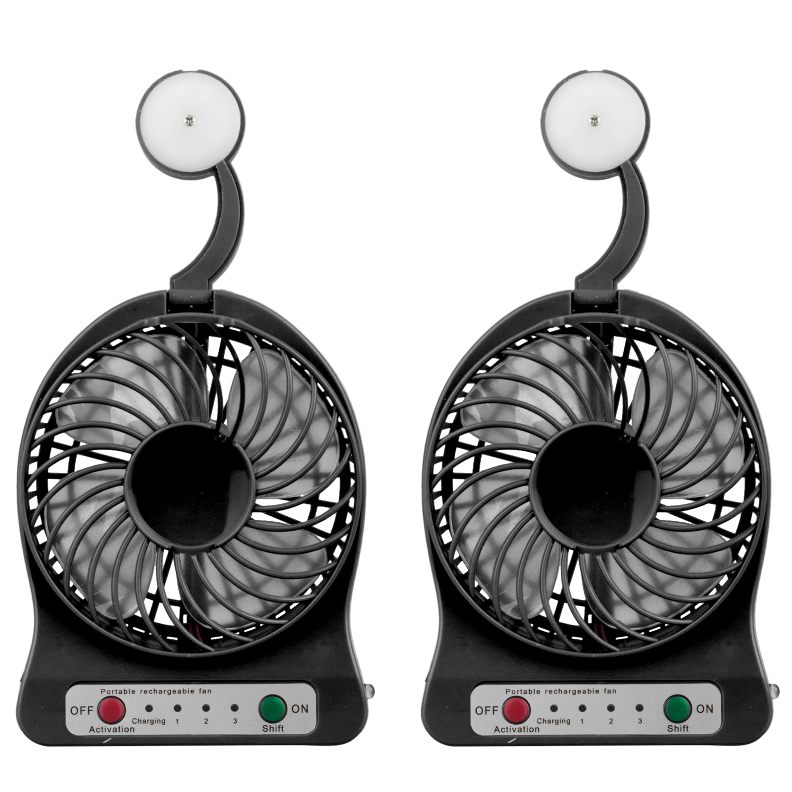 2-pack Portable 2 in 1 Mini USB Quiet Cooling Fan with LED light, include 1200mAh Rechargeable Battery