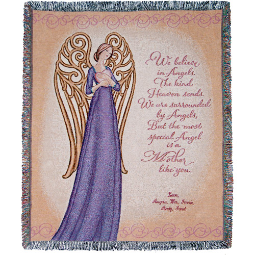 Personalized Mother's Tapestry Throw, Angel