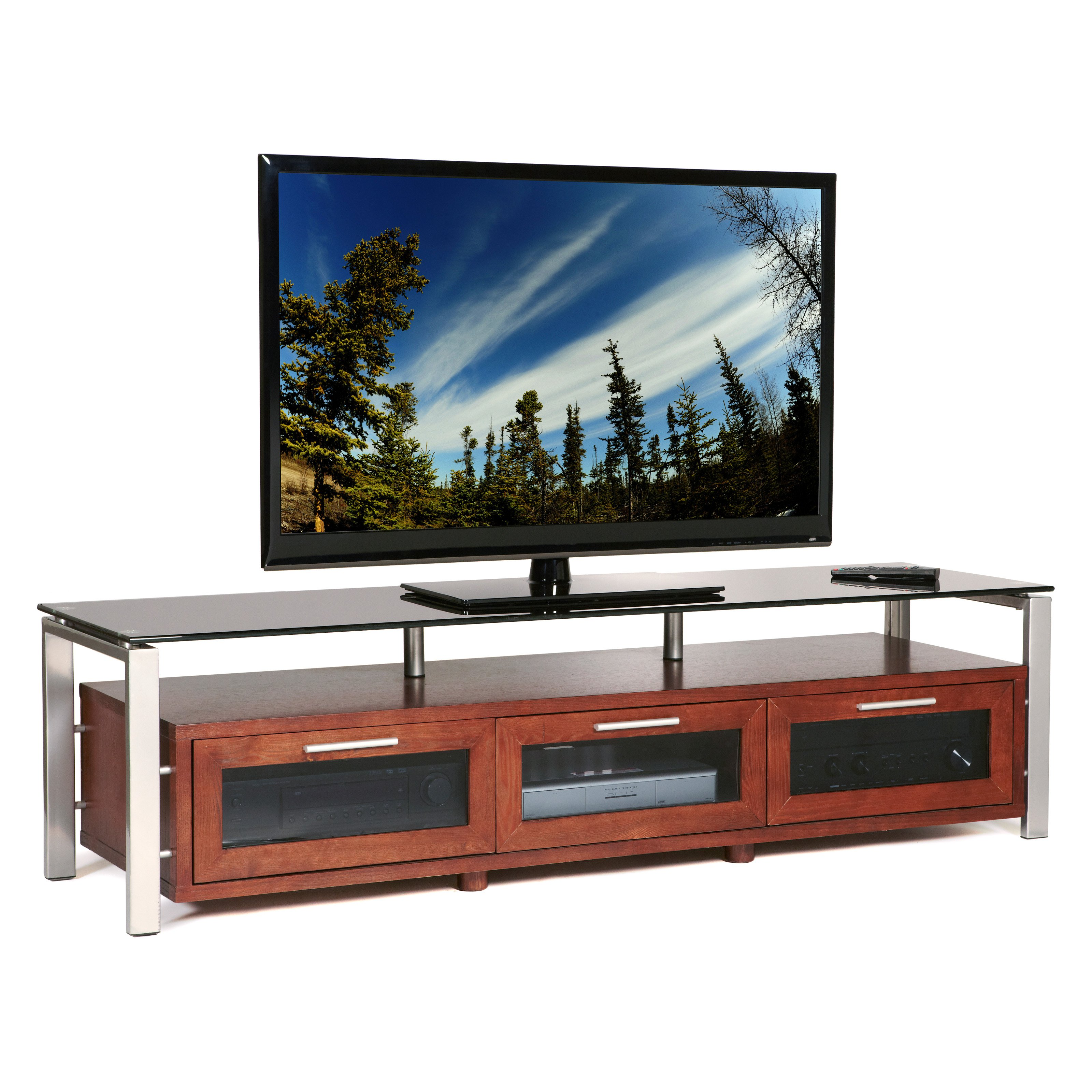 Plateau Decor 71 Inch TV Stand in Walnut/Black and Silver