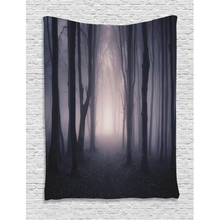 Path in Dark Forest and Fog Twilight Halloween Theme Image Wall Hanging Tapestry - Quilted Halloween Wall Hangings