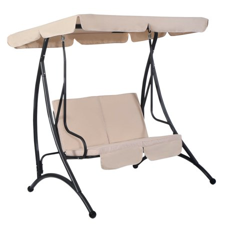 Costway Beige 2 Person Canopy Swing Chair Patio Hammock Seat Cushioned Furniture Steel ()