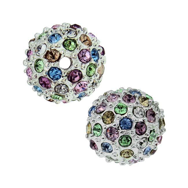 Beadelle Crystal 10mm Round Pave Bead - Silver Plated / Lt Multi Rainbow (1 Pc)
