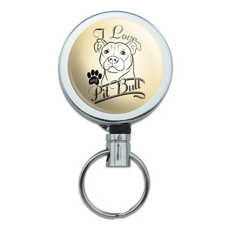 I Love My Pit Bull Heavy Duty Metal Retractable Reel ID Badge Key Card Tag Holder with Belt Clip - Line Retractable Belt