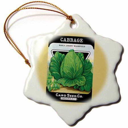 Early Porcelain - 3dRose Cabbage Early Jersey Wakefield Seed Packet from Card Seed Company, Snowflake Ornament, Porcelain, 3-inch