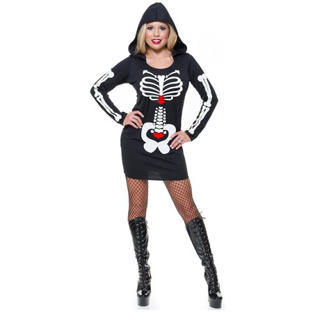 Skeleton Hoodie Dress Adult Costume Black/White - X-Small - Womens Skeleton Costume Dress