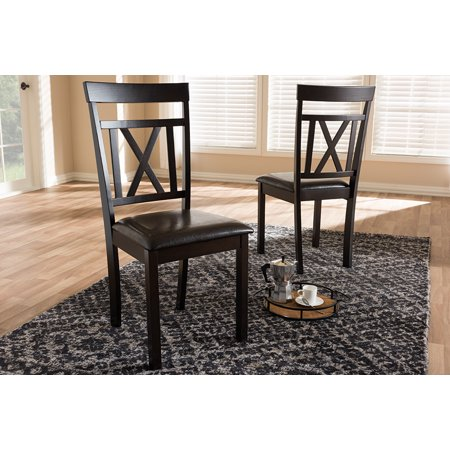 Set of 2 Baxton Studio Rosie Modern and Contemporary Dark Brown Faux Leather Upholstered Dining Chair Set Dark Brown Dining Set