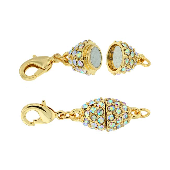 Beadelle Crystal Oval Pave Magnetic Clasp Gold Plated / Crystal AB 9x13mm (1 Pc)
