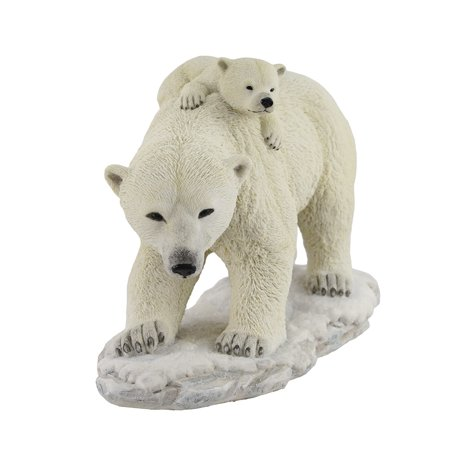 Polar Bear Mother With Adorable Freeloading Cub Statue - image 1 de 4